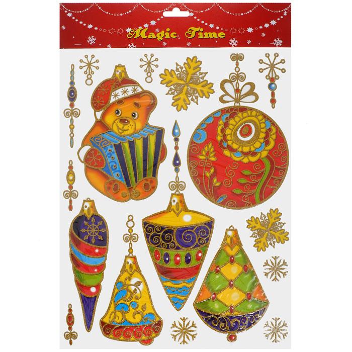 Новогоднее оконное украшение Елочные игрушки. 2658726587Новогоднее оконное украшение Елочные игрушки поможет украсить дом к предстоящим праздникам. Яркие изображения в виде елочных игрушек нанесены на прозрачную клейкую пленку. Рисунки декорированы золотистыми блестками. С помощью этих украшений вы сможете оживить интерьер по своему вкусу: наклеить их на окно, на зеркало или на дверь.Новогодние украшения всегда несут в себе волшебство и красоту праздника. Создайте в своем доме атмосферу тепла, веселья и радости, украшая его всей семьей.Коллекция декоративных украшений из серии Magic Time принесет в ваш дом ни с чем не сравнимое ощущение волшебства! Характеристики:Материал:пленка ПВХ, глиттер. Размер листа:30 см х 38 см. Размер наибольшей наклейки:13 см х 19,5 см. Размер наименьшей наклейки:2,5 см х 4 см. Изготовитель:Тайвань. Артикул:26587.