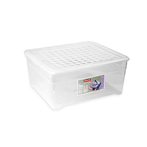 Контейнер для хранения Textile Line, цвет: прозрачный, 18,5 л03002Контейнер для хранения Textile Line, выполненный из прочного прозрачного пластика, предназначен для хранения различных вещей. Крышка легко открывается и плотно закрывается с помощью легкого щелчка. Контейнер поможет хранить все в одном месте, а также защитить вещи от пыли, грязи и влаги. Характеристики:Материал:пластик. Цвет:прозрачный. Объем:18,5 л. Размер (Д х Ш х В): 39 см х 34 см х 18 см. Артикул: 03002.