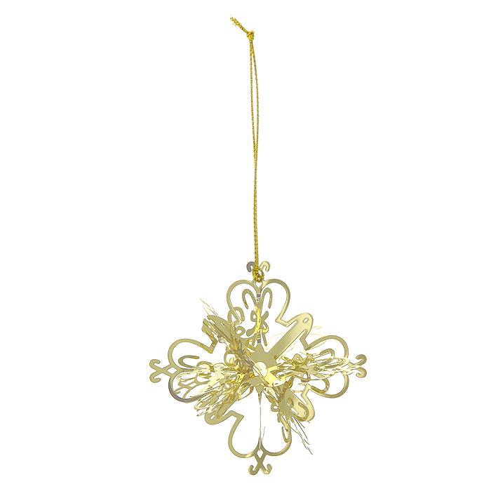 Новогоднее подвесное украшение Снежинка, цвет: золотистый. 25104 новогоднее подвесное украшение снежинка цвет золотистый 25104