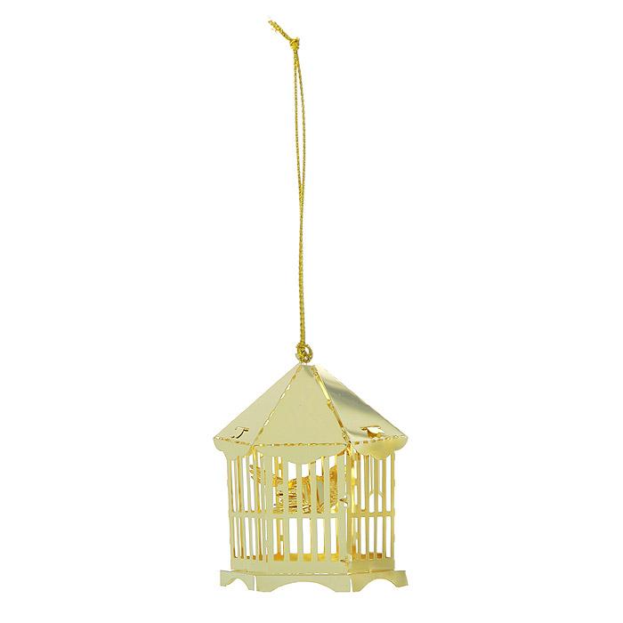 Новогоднее подвесное украшение Птица в клетке, цвет: золотистый. 2505325053Новогоднее подвесное украшение Птица в клетке, выполненное из золотистого металла, украсит интерьер вашего дома или офиса в преддверии Нового года. Оригинальный дизайн и красочное исполнение создадут праздничное настроение. Новогодние украшения всегда несут в себе волшебство и красоту праздника. Создайте в своем доме атмосферу тепла, веселья и радости, украшая его всей семьей. Характеристики:Материал:металл. Размер украшения:4,5 см х 4,5 см х 7 см. Размер упаковки:6 см х 6 см х 8 см. Изготовитель:Китай. Артикул:25053.