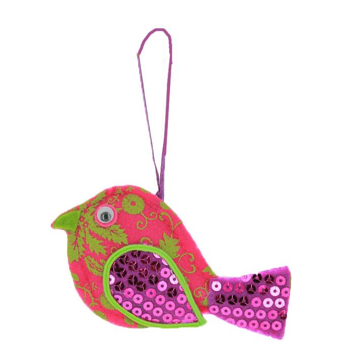 Новогоднее подвесное украшение Птичка, цвет: розовый. 2532925329Новогоднее украшение Птичка отлично подойдет для декорации вашего дома и новогодней ели. Игрушка выполнена из полиэстера в виде птицы, украшенного паетками. Елочная игрушка - символ Нового года. Она несет в себе волшебство и красоту праздника. Создайте в своем доме атмосферу веселья и радости, украшая всей семьей новогоднюю елку нарядными игрушками, которые будут из года в год накапливать теплоту воспоминаний. Характеристики: Материал:ткань (полиэстер), паетки. Размер украшения:12 см х 7 см. Изготовитель:Китай. Артикул:25229.