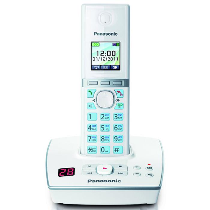 Panasonic KX-TG8061 RUWKX-TG8061 RUWУникальность радиотелефону Panasonic KX-TG8061 придает функция резервного питания. Обычные DECT телефоны не работают при отключении электричества, а у Panasonic KX-TG8061 заряд аккумуляторов трубки сможет обеспечить временную работу базового блока.В радиотелефоне Panasonic KX-TG8061 сочетаются современный дизайн и множество разнообразных функций. Ключевым преимуществом DECT телефона Panasonic KX-TG8061 стала функция резервного питания базового блока от трубки (при отключении электроэнергии) и цветной TFT-дисплей.Радиотелефон Panasonic KX-TG8061RU выполнен в классическом белом цвете с соблюдением четких прямых линий. Трубка комфортно лежит в руке, а благодаря клавишам с голубой подсветкой и четкому TFT-дисплею набирать номер и изменять настройки телефона очень удобно. Меню радиотелефона Panasonic KX-TG8061RU полностью русифицировано, что существенно упрощает использование телефонной книги. Этот DECT телефон имеет встроенный цифровой автоответчик на 18 минут записи. Узнать о количестве оставленных сообщений можно взглянув на небольшой экран на базовом блоке, где высвечиваются крупные четкие цифры.Уникальность этому радиотелефону придает функция резервного питания. Обычные DECT телефоны не работают при отключении электричества, а заряд аккумуляторов трубки Panasonic KX-TG8061RU сможет обеспечить временную работу базового блока. В случае, если зарегистрирована одна трубка, функция резервного питания позволит совершать и принимать звонки с помощью громкой связи. При регистрации двух или более - одна трубка должна оставаться на базовом блоке для подачи питания, а другие можно использовать для совершения звонков в обычном режиме.Память радиотелефона Panasonic KX-TG8061RU рассчитана на хранение 200 контактов в телефонной книге и 50 входящих вызовов в журнале. Базовый блок позволяет зарегистрировать до шести трубок, причем записи телефонной книги с одной из них могут быть скопированы на другие. DECT телефон Panasonic KX-TG8061RU обладает г