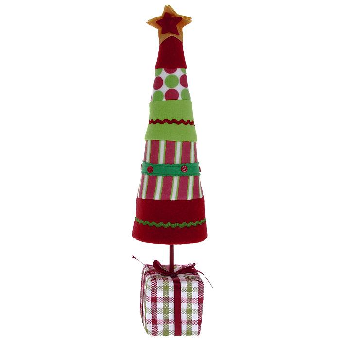 Новогоднее настольное украшение Елка. 2555325553Оригинальная елочка в стиле hand-made может послужить в качестве украшения новогоднего стола, офиса или новогоднего сувенира. Бумажный каркас изделия обтянут мягкими тканями различной расцветки. Основанием служит небольшой кубик, оформленный в виде подарка с милым бантиком. Характеристики: Размер украшения:11,5 см х 11,5 см х 46 см.Изготовитель:Китай.Артикул:25553.