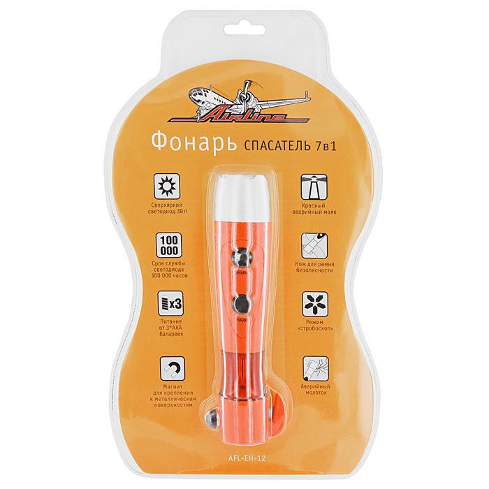 Фонарь спасатель 7 в 1 Airline AFL-EH-12, 3 ВтAFL-EH-12Фонарь спасатель 7-в-1 Airline AFL-EH-12 является источником яркого света и незаменимым помощником в экстремальных ситуациях. Также этот фонарь можно использовать и для других целей: на катере, на даче, на отдыхе, на рыбалке и охоте, в автосервисе и дома.Особенности:Яркий светодиод;Фонарь в режиме стробоскопа;Магнит для крепления;Красный аварийный маяк (2 режима: постоянное свечение, мерцающее свечение);Нож для ремня безопасности;Аварийный молоток для разбивания стекла в автомобиле.Характеристики:Мощность светодиода: 3 Вт. Срок службы светодиода: до 100 000 часов. Питание: 3 батарейки ААА. Размер упаковки: 37 см х 22 см.Артикул: AFL-EH-12.