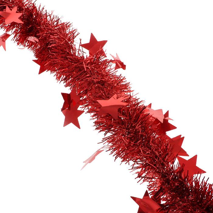 Новогодняя мишура Феникс-Презент, диаметр 5 см, длина 200 см, цвет: красный. 2692626926Пушистая новогодняя мишура, усыпанная крупными звездами, поможет Вам реализовать самые экстравагантные дизайнерские идеи, украсив стены, потолок, архитектурные элементы, проемы окон и дверей. Мишура армирована, то есть имеет проволоку внутри и способна сохранять приданную ей форму. Она способна отразить блеск огней елочных гирлянд и добавить волшебства в праздничный интерьер квартиры. Создайте в своем доме атмосферу тепла, веселья и радости, украшая его всей семьей. Характеристики:Длина: 200 см. Диаметр: 5 см. Артикул: 26926. Изготовитель: Китай.