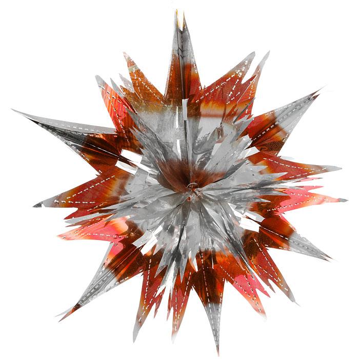 Новогоднее подвесное украшение Звезда, цвет: серебристый, оранжевый. 2700927009Новогоднее украшение Звезда отлично подойдет для декорации вашего дома и новогодней ели. Украшение выполнено из ПВХ в форме многогранной многоцветной звезды. С помощью специальной петельки звезду можно повесить в любом понравившемся вам месте. Украшение легко складывается и раскладывается благодаря металлическим кольцам. Новогодние украшения несут в себе волшебство и красоту праздника. Они помогут вам украсить дом к предстоящим праздникам и оживить интерьер по вашему вкусу. Создайте в доме атмосферу тепла, веселья и радости, украшая его всей семьей. Коллекция декоративных украшений из серии Magic Time принесет в ваш дом ни с чем не сравнимое ощущение волшебства!Размер украшения (в сложенном виде): 25 см х 21,5 см.