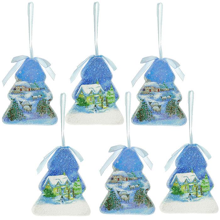 Оригинальные елочные игрушки выполнены из пластика голубого цвета в виде елочек. Такие игрушки легки и удобны при оформлении елки, они не разобьются и более долговечны. Набор декорирован новогодними мотивами и голубыми атласными бантиками. В свете новогодних гирлянд игрушки будут таинственно мерцать, сиять, и радовать своей красотой всех окружающих.  Елочная игрушка - символ Нового года. Она несет в себе волшебство и красоту праздника. Создайте в своем доме атмосферу веселья и радости, украшая всей семьей новогоднюю елку нарядными игрушками, которые будут из года в год накапливать теплоту воспоминаний Характеристики:Материал:  пластик, текстиль. Цвет:  голубой. Размер:  9 см х 6 х 1,5 см. Размер упаковки:  19 см х 10 см х 3 см. Комплектация:  6 шт. Артикул:  Ф21-2157.