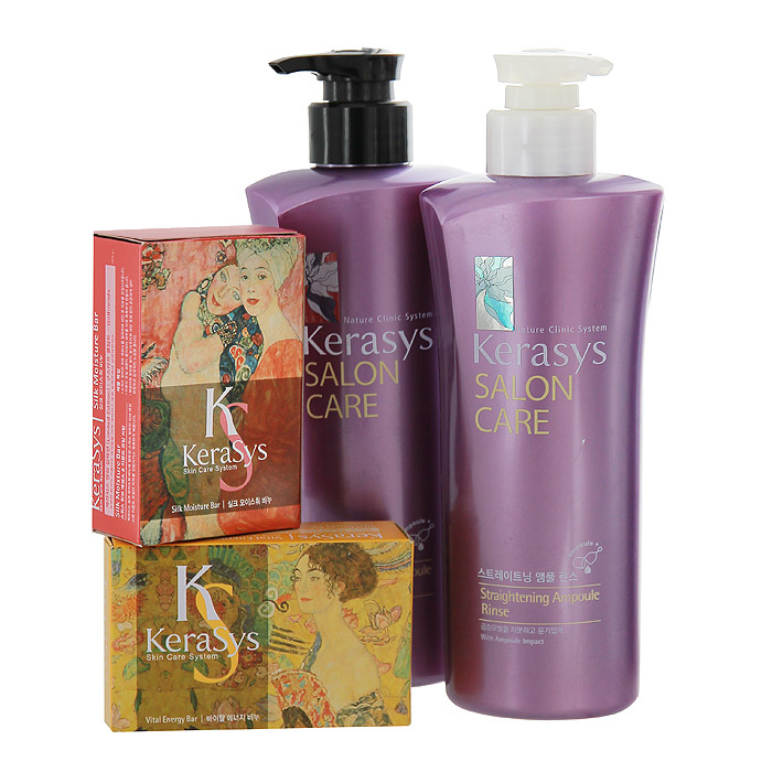 KeraSys Подарочный набор для волос Salon Care. Выпрямление: шампунь, кондиционер, мыло, 2 шт895320НПодарочный набор KeraSys Salon Care. Выпрямление состоит из шампуня, кондиционера для волос и двух мыл. К набору прилагается подарочный пакет с двумя ручками.Шампунь KeraSys Salon Care с трехфазной системой восстановления предназначен для вьющихся волос. Компонент природного протеина, содержащегося в экстракте моринги, аминокислоты экстракта фиалки и технология ампульной терапии успокаивает и выпрямляет вьющиеся волосы.Трехфазная система восстановления:Природный протеин, содержащийся в экстракте плодов моринги, укрепляет и оздоравливает структуру поврежденных волос.Компонент аминокислот, содержащийся в экстракте цветка фиалки, придает мягкость волосам.Компонент природного кератина, полифенол, компонент красного вина и кристаллический компонент делают волосы здоровыми.Кондиционер для волос Kerasys Salon Care с трехфазной системой восстановления предназначен для вьющихся волос. Компонент природного протеина, содержащегося в экстракте моринги, аминокислоты экстракта фиалки и технология ампульной терапии успокаивает и выпрямляет вьющиеся волосы. Мыло Vital Energyсодержит в своем составе экстракты альпийских трав и коэнзим Q10, которые успокаивают и подтягивают вашу кожу, что делает ее более здоровой и красивой. Мыло обладает ароматом розы и спелых фруктов, надолго придающим ощущение нежности вашей коже.Мыло Silk Moistureсодержит в своем составе экстракты альпийских трав и минеральное масло, которые успокаивают и увлажняют вашу кожу, что делает ее более здоровой и красивой. Мыло обладает персиковым ароматом, надолго придающим ощущение блаженства вашей коже. Характеристики:Объем шампуня: 470 мл. Объем кондиционера: 470 мл. Вес мыла: 2 х 100 г. Товар сертифицирован.