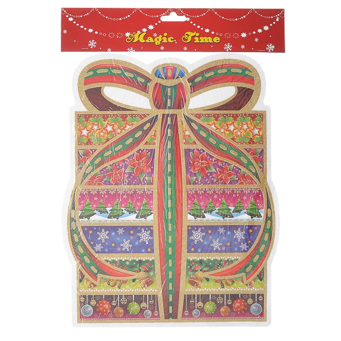 Оконное украшение Подарок. 1754317543Оконное украшение Подарок поможет вам подготовить свой дом к предстоящим праздникам. Цветные изображения и глиттер нанесены на прозрачную клейкую пленку. С помощью таких украшений вы сможете оживить интерьер по вашему вкусу: наклеить их на окно, на зеркала и даже на двери. Характеристики:Материал:пленка ПВХ. Размер:30 см х 36,5 см. Изготовитель:Тайвань. Артикул: 17543.