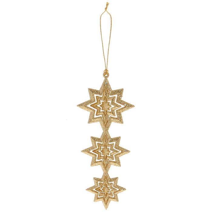 Новогоднее подвесное украшение Звезды. 2576925769Яркое новогоднее украшение, переливающееся разноцветными огнями, поможет в декорации вашего дома или новогодней ели. Выполнено из легкого пластика в виде трех звезд, скрепленных друг с другом и осыпанных золотыми блестками. Благодаря плотному корпусу изделие никогда не разобьется, поэтому вы можете быть уверены, что оно прослужит вам долгие годы. Елочная игрушка - символ Нового года. Она несет в себе волшебство и красоту праздника. Создайте в своем доме атмосферу веселья и радости, украшая всей семьей новогоднюю елку нарядными игрушками, которые будут из года в год накапливать теплоту воспоминаний. Характеристики:Материал:пластик. Размер:11,6 см х 6,5 см х 1 см. Размер упаковки:13 см х 12 см х 1 см. Артикул: 25769. Изготовитель: Китай.