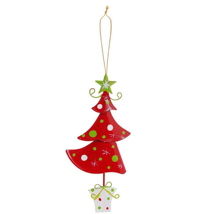 Новогоднее подвесное украшение Елочка. 2677226772Новогоднее украшение выполнено из черного окрашенного металла в виде елки в горшочке. Вы можете подвесить его в любом месте, где оно будет удачно смотреться, и радовать глаз. Кроме того, это украшение - отличный вариант подарка для ваших близких и друзей. Новогодние украшения всегда несут в себе волшебство и красоту праздника. Создайте в своем доме атмосферу тепла, веселья и радости, украшая его всей семьей. Характеристики:Материал:металл. Размер:12 см х 6 см х 0,7 см. Артикул: 26772.