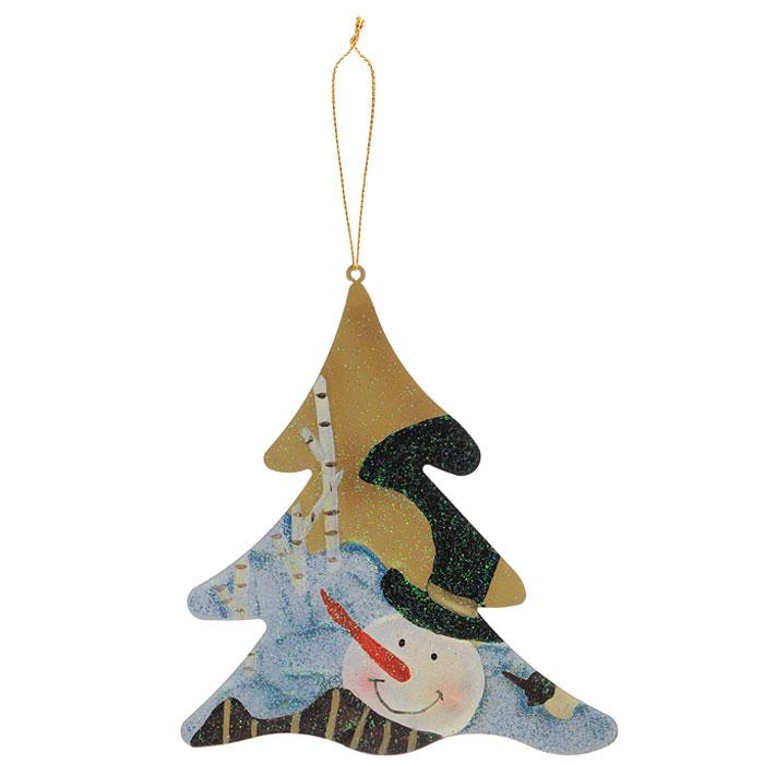 Новогоднее подвесное украшение Елка. 2592025920Яркое новогоднее украшение, переливающееся разноцветными огнями, поможет в декорации вашего дома или новогодней ели. Выполнено из металла в виде новогодней елочки, на которую нанесено изображение снеговика. Елочная игрушка - символ Нового года. Она несет в себе волшебство и красоту праздника. Создайте в своем доме атмосферу веселья и радости, украшая всей семьей новогоднюю елку нарядными игрушками, которые будут из года в год накапливать теплоту воспоминаний. Характеристики:Размер:10,5 см х 12 см. Размер упаковки:13 см х 12 см. Артикул: 25920. Изготовитель: Китай.
