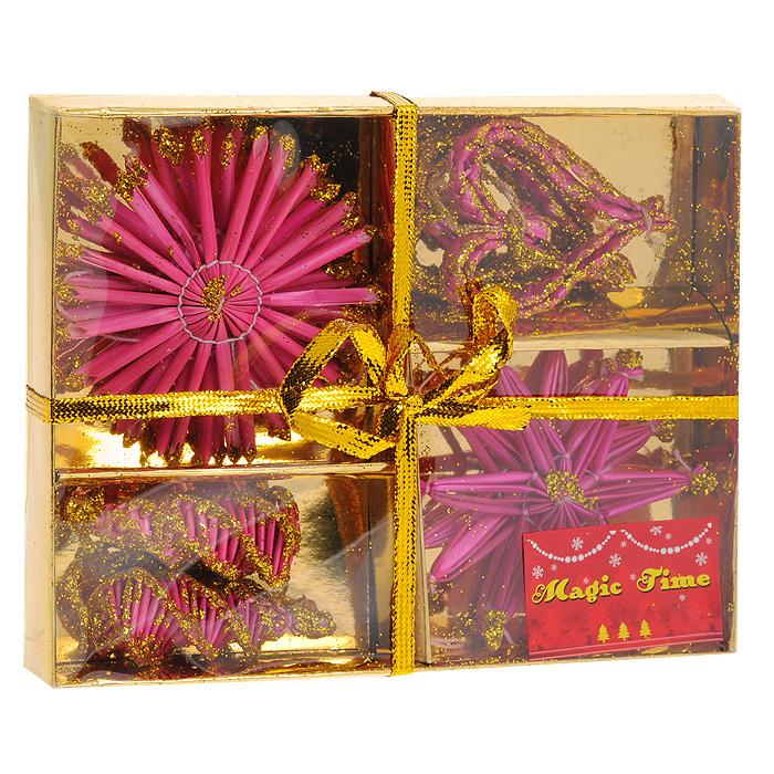 Набор подвесных украшений Звезды, снежинки, шишки, сердечки, 10 шт. 25226. Цвет: розовый, золотой25226Стильный набор новогодних украшений из натуральной соломки идеально дополнит праздничное убранство Вашей елки. Комплект включает в себя 10 плетеных из соломы фигурок: сердечек, звездочек, снежинок и шишек. Украшения из натуральной соломы сейчас находятся на пике моды. Но мало кто знает, что на самом деле модное веяние является ничем иным, как хорошо забытым атрибутом рождественских праздников стран раннехристианской Европы. Солома напоминала о яслях, в которых лежал младенец Иисус; из нее мастерили праздничных куколок, короны, пирамиды и просто рассыпали по полу.Вы можете преподнести этот милый подарок с наилучшими пожеланиями счастья в предстоящем году. Новогодние украшения всегда несут в себе волшебство и красоту праздника. Создайте в своем доме атмосферу тепла, веселья и радости, украшая его всей семьей. Характеристики:Материал: солома. Диаметр снежинок и звездочек: 8 см. Длина сердечек и шишек: 6 см. Размер упаковки: 18 см х 12 см х 6 см. Комплектация: 6 штук. Изготовитель: Китай. Артикул: 25226.