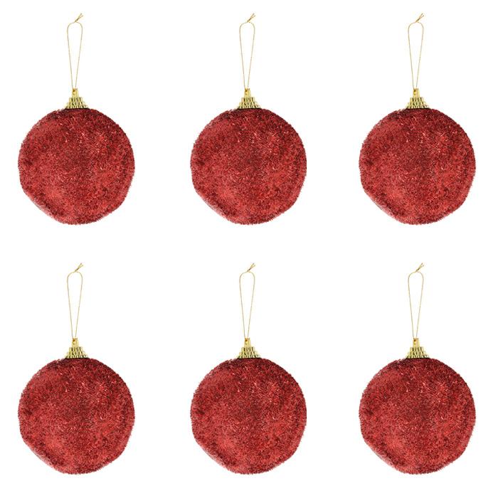Набор подвесных новогодних украшений Christmas, цвет: красный. 7151371513Набор подвесных украшений Christmas украсит новогоднюю елку и создаст теплую и уютную атмосферу праздника. В набор входят шесть блестящих украшений. Елочная игрушка - символ Нового года. Она несет в себе волшебство и красоту праздника. Создайте в своем доме атмосферу веселья и радости, украшаявсей семьейновогоднюю елку нарядными игрушками, которые будут из года в год накапливать теплоту воспоминаний. Характеристики:Материал: пластик. Размер украшения: 8,5 см х 8,5 см х 9 см. Размер упаковки:26 см х 17 см х 8 см. Артикул: 71513.