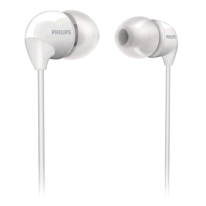 Philips SHE3590WT/10, White наушникиSHE3590WT/10Маленькие громкие динамики наушников-вкладышей Philips SHE3590 обеспечивают плотное прилегание и чистыйзвук с мощными басами. Идеальны для наслаждения любимой музыкой.В комплект входит 3 резиновых накладки разного размера, и вы гарантированно подберете пару, котораяидеально подходит к вашим ушам. Крохотные излучатели обеспечивают плотность прилегания и полностьюзаполняют ушную раковину, что заглушает внешние источники звука и увеличивает впечатления отпрослушивания. Мягкий резиновый сгиб между наушником и кабелем защищает соединение от разрыва припостоянном сгибании и продлевает срок службы.