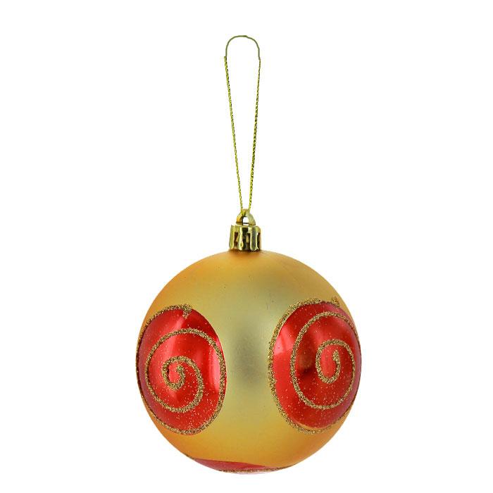 """Набор подвесных новогодних украшений """"Шары"""", цвет: золотистый, красный, 6 шт. 26270"""