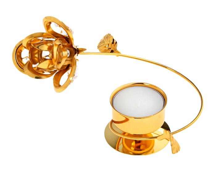 Подсвечник Роза, цвет: золотой. 538893538893Декоративный металлический подсвечник Роза украсит интерьер вашего дома. Металлическая подставка выполнена в виде цветка, свеча вставляется в стаканчик. Установите и зажгите свечу, и Вы сразу почувствуете уют и спокойствие, исходящие от маленького огонька свечи в необычном оформлении. Характеристики: Материал: металл. Размер подсвечника: 13 см х 11 см х 5 см. Диаметр стакана: 4 см. Размер упаковки: 13,5 см х 13,5 см х 7,5 см. Артикул: 538893.