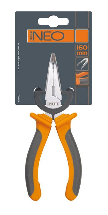 Плоскогубцы Neo, удлиненные, изогнутые, 160 мм01-015Плоскогубцы Neo изготовлены из хром ванадиевой стали. Они предназначены для захвата, зажима и удержания мелких деталей.Имеют эргономичные ручки. Характеристики: Материал:хром-ванадиевая сталь, резина. Общая длина:16 см. Размер плоскогубцев: 16 см х 6 см х 3 см. Размер упаковки: 21 см х 8,5 см х 3,5 см.