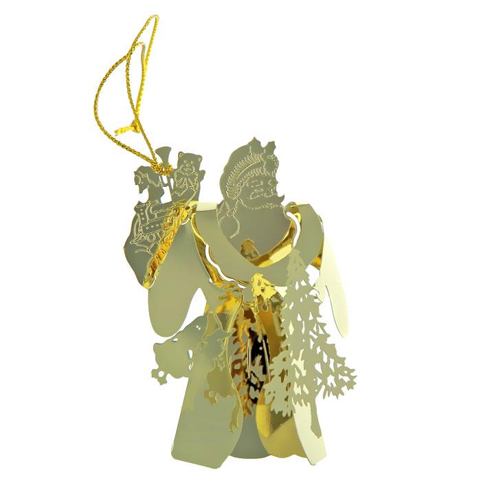 Новогоднее подвесное украшение. 2506225062Новогоднее украшение выполнено из черного окрашенного металла в виде Деда Мороза с елкой и подарками. Вы можете подвесить его в любом месте, где оно будет удачно смотреться, и радовать глаз. Кроме того, это украшение - отличный вариант подарка для ваших близких и друзей. Новогодние украшения всегда несут в себе волшебство и красоту праздника. Создайте в своем доме атмосферу тепла, веселья и радости, украшая его всей семьей. Характеристики:Материал:металл. Размер:7 см х 5 см х 2 см. Артикул: 25062.