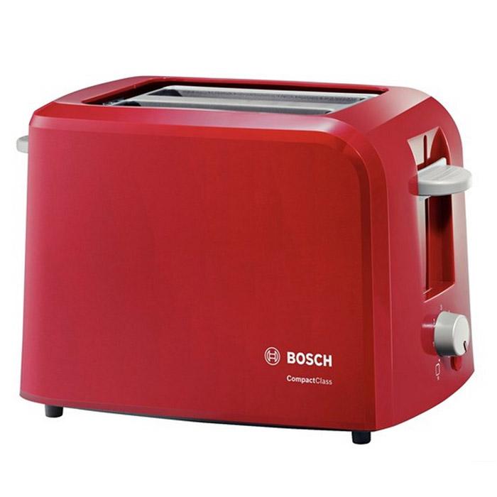Bosch TAT3A014 тостерTAT3A014Тостер Bosch TAT3A014 станет еще одним членом вашей семьи, ведь мало кто откажется полакомиться поджаренным хрустящим кусочком хлеба или горячей булочкой. С его появлением вам уже не придется заставлять ребенка позавтракать - он сможет самостоятельно приготовить себе вкусное блюдо без малейшей опасности для здоровья.Оригинальный дизайн и яркая цветовая гамма тостеров Bosch позволят им стать настоящим украшением вашей кухни. Данная модель поможет приготовить за раз два кусочка хлеба, а степень поджаренности вы можете выбрать самостоятельно при помощи терморегулятора. Также тостер оснащен функцией автоматического центрирования для равномерной обжарки, а также съемным поддоном для крошек, который значительно упростит уход за прибором.Бесступенчатый терморегулятор с интегрированной функцией подогреваАвтоматическое центрирование тостов для равномерного поджариванияПлоский нагревательный элементHi-Lift: плавный подъем тостовАвтоматическое отключение при застревании тостаИнтегрированная решетка для булочекПодсвеченная клавиша Stop