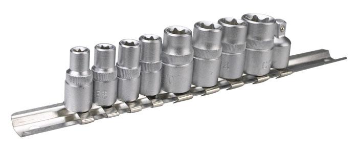 Набор торцевых головок Topex, 1/4, 3/8, 10 шт39D375Набор торцевых головок Торех применяется для монтажа/демонтажа резьбовых соединений. Станет отличным помощником монтажнику или владельцу авто. Этот инструмент обеспечит надежную фиксацию на гранях крепежа. Характеристики: Материал: хром-ванадий. Размер головок 1/4: 5 мм, 6 мм, 7 мм, 8 мм. Размер головок 3/8: 10 мм, 12 мм, 14 мм, 16 мм. Размер переходника: с 3/8 на 1/4 Размер упаковки: 26 см х 8 см х 3 см.