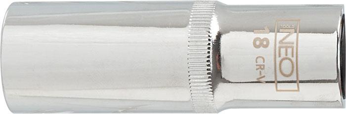 Головка торцевая Neo, удлиненная, 1/2, 22 мм08-047Головка торцевая Neo применяется для монтажа/демлнтажа резьбовых соединений. Станет отличным помощником монтажнику или владельцу авто. Этот инструмент обеспечит надежную фиксацию на гранях крепежа. Характеристики: Материал: хром-ванадий. Диаметр головки: 22 мм. Размер переходника: 1/2. Размер упаковки:14 см х 4,5 см х 3 см.