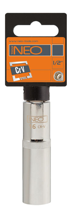 Головка торцевая Neo, удлиненная, 1/2, 16 мм08-054Головка торцевая Neo применяется для монтажа/демлнтажа резьбовых соединений. Станет отличным помощником монтажнику или владельцу авто. Этот инструмент обеспечит надежную фиксацию на гранях крепежа. Характеристики: Материал: хром-ванадий. Диаметр головки: 16 мм. Размер переходника: 1/2. Размер упаковки:14 см х 4,5 см х 2 см.