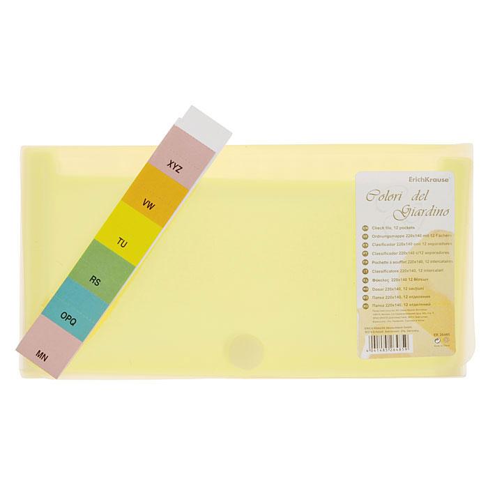 Папка на липучке Erich Krause Colori del Giardino, 12 отделений, цвет: желтый26485Удобная компактная папка на липучке Erich Krause Colori del Giardino часто используется для хранения домашних документов (квитанций, чеков, инструкций) небольшого формата. Папка выполнена из полупрозрачного фактурного пластика розового цвета и содержит внутри 12 прозрачных отделений. Комплект бумажных индексов позволит тематически сортировать вложенные бумаги. Закрывается папка с помощью застежки-липучки.Характеристики:Размер папки: 26 см х 13,5 см х 2 см. Цвет: желтый. Изготовитель: Китай.