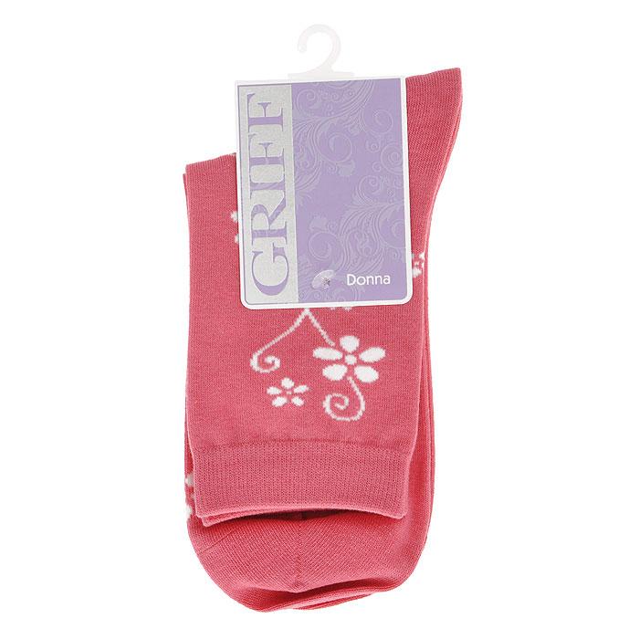 Носки женские Griff Цветок, цвет: розовый. D263. Размер 35/38D263Женские носки Griff Цветок изготовлены из высококачественного сырья. Носки очень мягкие на ощупь, а широкая резинка плотно облегает ногу, не сдавливая ее, благодаря чему вам будет комфортно и удобно. Усиленная пятка и мысок обеспечивают надежность и долговечность.Носки оформлены цветочным орнаментом.