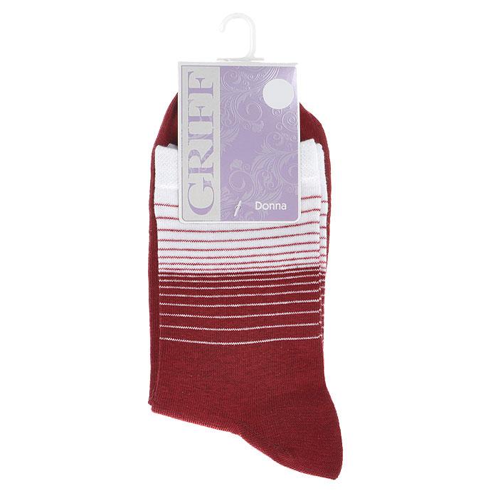 Носки женские Griff Donna. Полоска двухцветная, цвет: красный. D511. Размер 39-41D511 полоска двухцветнаяНоски, изготовленные из высококачественного сырья, идеально подойдут к одежде свободного стиля. Комфортная резинка не сдавливает ногу. Усиленные пятка и мысок обеспечивают надежность и долговечность.