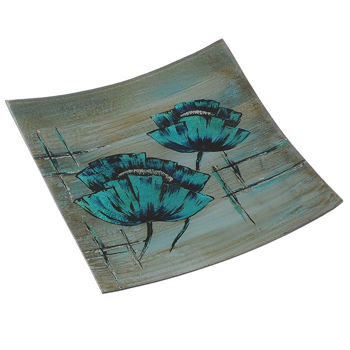 Блюдо Lillo Glass, цвет: бирюзовый, синий, 33,5 х 33 х 3,5 см4601137130156Блюдо Lillo Glass, изготовленное из стекла, оформлено изображением бирюзовых цветов и серебристых блесток. Такое блюдо сочетает в себе изысканный дизайн с максимальной функциональностью. Красочность оформления придется по вкусу тем, кто предпочитает утонченность и изящность.Оригинальное блюдо украсит сервировку вашего стола и подчеркнет прекрасный вкус хозяйки, а также станет отличным подарком. Характеристики:Материал: стекло. Цвет: бирюзовый, синий. Размер блюда:33,5 см х 33 см х 3,5 см. Размер упаковки: 34 см х 33,5 см х 4,5 см. Артикул: 4601137130156.