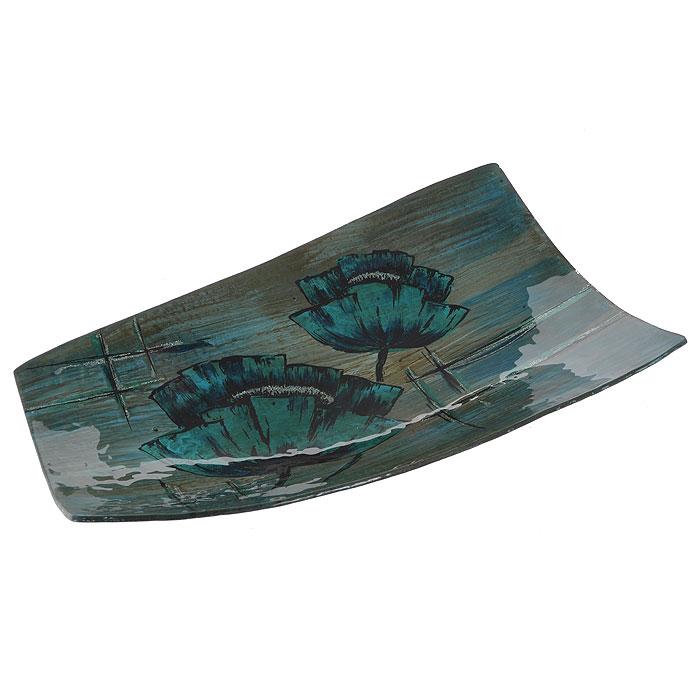 Блюдо Lillo Glass, цвет: бирюзовый, синий, 42 см х 25 см х 5 см213058Блюдо Lillo Glass, изготовленное из стекла, оформлено изображением бирюзовых цветов и серебристых блесток. Такое блюдо сочетает в себе изысканный дизайн с максимальной функциональностью. Красочность оформления придется по вкусу тем, кто предпочитает утонченность и изящность.Оригинальное блюдо украсит сервировку вашего стола и подчеркнет прекрасный вкус хозяйки, а также станет отличным подарком. Характеристики:Материал: стекло. Цвет: бирюзовый, синий. Размер блюда:42 см х 25 см х 5 см. Размер упаковки: 43 см х 26,5 см х 7 см. Артикул: 213058.