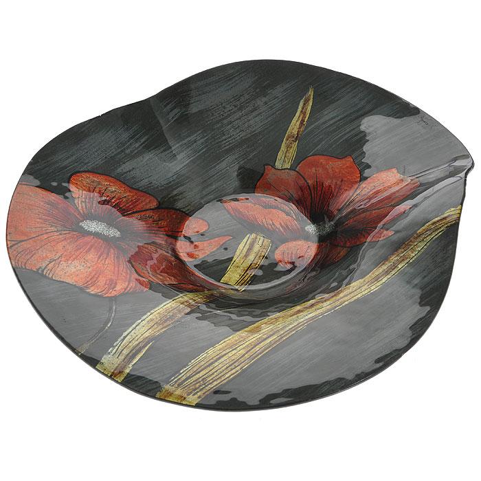 Блюдо Lillo Glass, цвет: серый, оранжевый, 38 х 37 х 9 см213059Блюдо Lillo Glass, изготовленное из стекла, оформлено изображением оранжевых цветов с серебристыми блестками. Такое блюдо сочетает в себе изысканный дизайн с максимальной функциональностью. Красочность оформления придется по вкусу тем, кто предпочитает утонченность и изящность.Оригинальное блюдо украсит сервировку вашего стола и подчеркнет прекрасный вкус хозяйки, а также станет отличным подарком. Характеристики:Материал: стекло. Цвет: серый, оранжевый. Размер блюда:38 см х 37 см х 9 см. Размер упаковки: 39 см х 37 см х 9 см. Артикул: 213059.