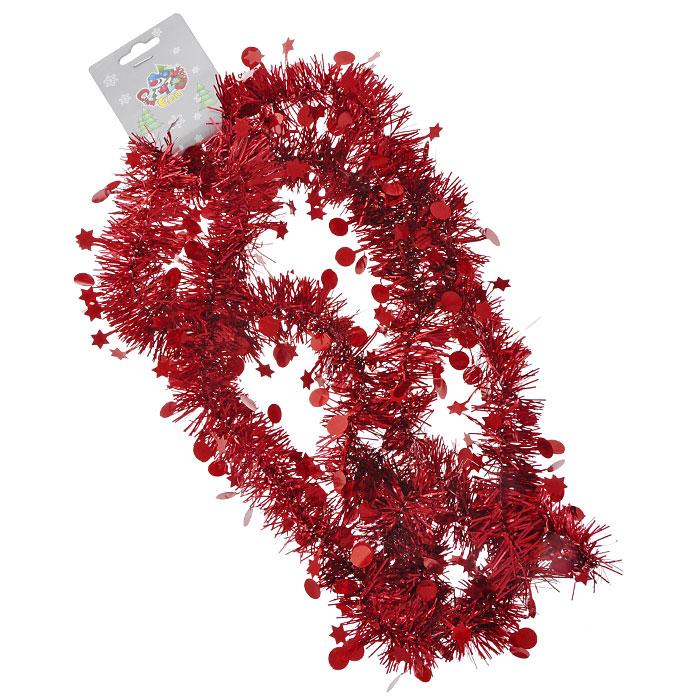 """Новогодняя мишура """"Феерия"""", выполненная из фольги, поможет вам украсить свой дом к предстоящим праздникам. А новогодняя елка станет наряднее.   Новогодние украшения всегда несут в себе волшебство и красоту праздника. Создайте в своем доме атмосферу тепла, веселья и радости, украшая его всей семьей. Характеристики:  Материал:  фольга. Длина: 200 см. Артикул: 0266-0012."""