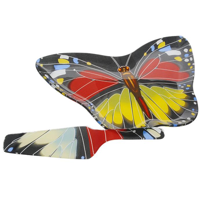 Набор для торта Бабочка, 2 предмета. GS2008/2АGS2008/2АНабор для торта Бабочка состоит из двух предметов: блюда в форме бабочки и лопатки. Предметы набора выполнены из высококачественного стекла декорированы узором под бабочку.Изящный дизайн и красочность оформления придутся по вкусу и ценителям классики, и тем, кто предпочитает утонченность и изысканность. Характеристики:Материал: стекло. Размер блюда: 35 см х 23 см х 2 см. Длина лопатки: 26,5 см. Размер рабочей поверхности лопатки: 14 см х 6 см. Размер упаковки: 36 см х 23 см х 3 см. Артикул: GS2008/2А.