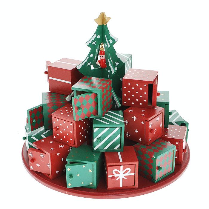 Новогоднее украшение Новогодняя елка, цвет: красный, зеленыйФ21-2232Новогоднее украшение Новогодняя елка, выполненное из дерева, отлично подойдет для декорации вашего дома. Украшение выполнено в виде круглой подставки, на которой в три ряда размещаются миниатюрные подарочные коробочки с открывающимися дверками. В центре украшения установлена декоративная зеленая елочка с подвесной красной игрушкой. Подарочные коробкикрасного и зеленого цветов декорированы рисунками звезд, снежинок, бантиков, белыми полосками и красными ромбами.Новогодние украшения всегда несут в себе волшебство и красоту праздника. Создайте в своем доме атмосферу тепла, веселья и радости, украшая его всей семьей. Характеристики:Материал:дерево. Цвет:красный, зеленый. Диаметр украшения:28 см. Высота украшения:16 см. Размер упаковки:29 см х 29,5 см х 16 см. Изготовитель:Китай. Артикул: Ф21-2221.