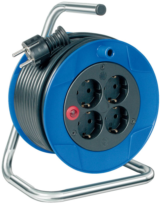 Удлинитель на катушке  Kompakt  универсальный, 4 гнезда, 15 м, цвет: синий - Сетевые фильтры, тройники и удлинители