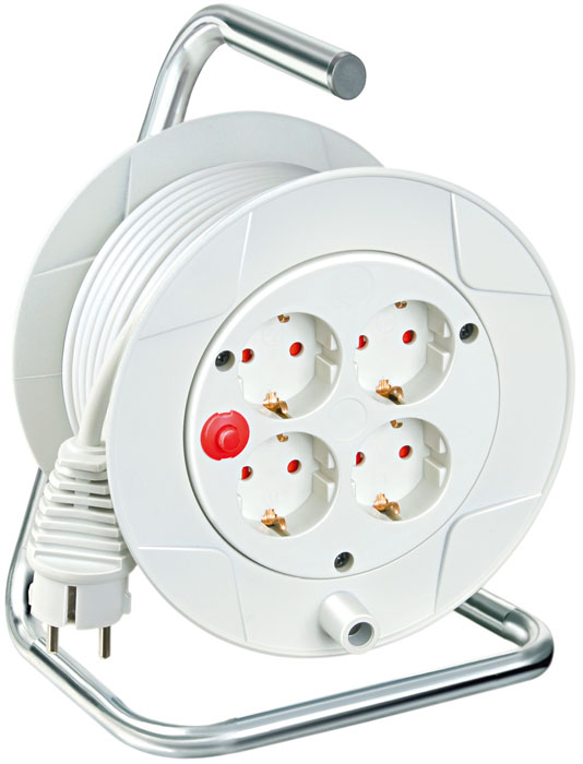 Удлинитель на катушке Kompakt универсальный, 4 гнезда, 15 м, цвет: белый удлинитель космос 4 гнезда 3 м цвет белый