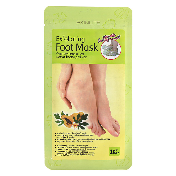 Skinlite Отшелушивающая маска-носки для ног, размер 35-40, 1 пара. SL-275SL-275Отшелушивающая маска-носки для ног: Новейшая разработка маска-носки.Отлично удаляет мозоли и огрубевшую кожу, трещины на стопах в течение 2х недель.Стимулирует обменные процессы, улучшает эластичность и упругость кожи.Регулирует деятельность потовых желез. Отшелушивающая маска-носки Skinlite для ног - это инновационный продукт, который сочетает в себе глубокий пилинг стоп и долговременный оздоравливающий эффект. Это эффективное средство для удаления мозолей, натоптышей и потрескавшейся кожи на стопах, предотвращающее огрубление кожи и образование новых трещин. Гликолевая и цитрусовая кислоты способствуют безболезненному и естественному удалению отмерших клеток. Натуральные экстракты папайи и яблока оказывают смягчающее, увлажняющее и восстанавливающее действие. Экстракт ромашки успокаивает кожу. Форма маски в виде носков делает процедуру простой и приятной. Уже через 7 дней кожа ваших ног станет гладкой и нежной, как у младенца, а полученный результат сохранится на 2-3 месяца.Универсальный размер - 35-40.Применение:Перед использованием помойте ноги теплой водой.Откройте упаковку и наденьте маску-носки.Через 90 минут снимите маску-носки. Остатки маски смойте теплой водой.Огрубевшая кожа начнет отслаиваться на 4-7 день после использования маски. Практически все оставшиеся натоптыши и мозоли сойдут в течение следующих 3-5 дней, в зависимости от их толщины. Не используйте дополнительные грубые механические средства для удаления мозолей, когда они начинают отслаиваться, дайте отмершей коже естественно сойти.Меры предосторожности:Не использовать маску, если на ногах есть открытые раны, порезы, раздражения, экзема или кожа склонна к аллергии.Не использовать продукт, если есть чувствительность к какому-либо из компонентов состава.Перед использованием, во избежание аллергических реакций, нанести небольшое количество маски на небольшой участок кожи, чтобы проверить реакцию.Использовать только для н