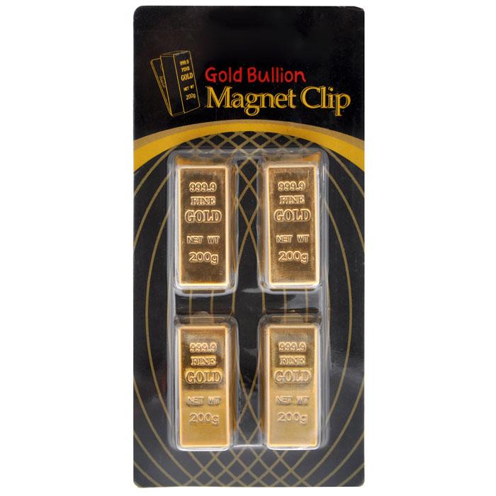 """Прищепки с магнитом """"Слиток Золота"""" выполнены из пластика и металла в виде слитка золота. Такие прищепки-магниты помогут украсить ваш интерьер и привнести в него разнообразия, а также могут стать забавным сувениром для близких и друзей.  Характеристики:  Материал: пластик, металл. Цвет: золотистый. Размер магнита: 3,2 см х 1,5 см х 2 см. Комплектация: 4 шт. Артикул: 93946."""