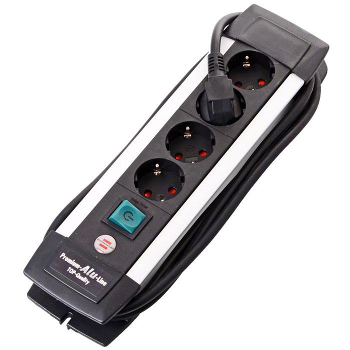 """Удлинитель """"Premium-Alu-Line"""" с выключателем, универсальный, 4 гнезда, 1,8 м, цвет: черный с серебристым, Brennenstuhl"""
