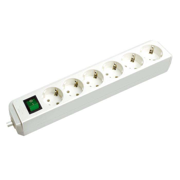 Удлинитель  Eco-Line  с выключателем, универсальный, 6 гнезд, 1,5 м, цвет: белый - Сетевые фильтры, тройники и удлинители