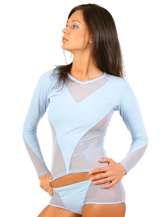 Футболка женская Lowry, цвет: голубой. LF1-150. Размер L (46/48)LF1-150Стильная женская классическая футболка с длинными рукавами, изготовленная из хлопка с добавлением лайкры, прекрасно подойдет для любого типа фигуры. Спереди футболка оформлена вставками из сеточки.Такая замечательная футболка станет как отличным украшением гардероба, так и восхитительным подарком. В ней вы всегда будет в центре внимания!