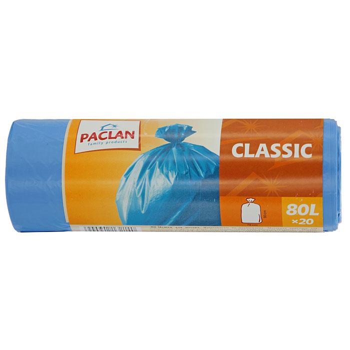 Пакеты для мусора Classic, цвет: синий, 80 л, 20 шт пакеты для мусора 20 шт 120 л с ручками завяжи выброси полиэтилен