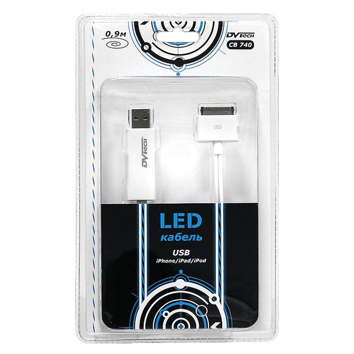 LED-кабель USB-iPhone / iPad / iPod DVTech CB 740, 0,9 м кабель usb ozaki для iphone ipod ipad черный 1 0м ot222abk