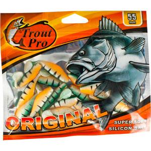 Риппер Trout Pro Original, длина 5,5 см, 20 шт. 3524635246Приманка предназначена для джиговой ловли хищной рыбы: окуня, судака, щуки. Специальная пластина придает приманке колебательные движения, усиливая ее сходство с живой рыбкой. Характеристики:Длина: 5,5 см. Цвет тела:142. Материал: эластичный полимер. Размер упаковки: 16,5 см х 14 см х 0,5 см. Производитель: Китай. Артикул: 35246.