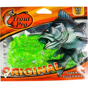 Риппер Trout Pro Original, длина 5,5 см, 20 шт. 3525535255Приманка предназначена для джиговой ловли хищной рыбы: окуня, судака, щуки. Специальная пластина придает приманке колебательные движения, усиливая ее сходство с живой рыбкой. Характеристики:Длина: 5,5 см. Цвет тела:51 (зеленый с блестками). Материал: эластичный полимер. Размер упаковки: 16,5 см х 14 см х 0,5 см. Производитель: Китай. Артикул: 35255.Какая приманка для спиннинга лучше. Статья OZON Гид