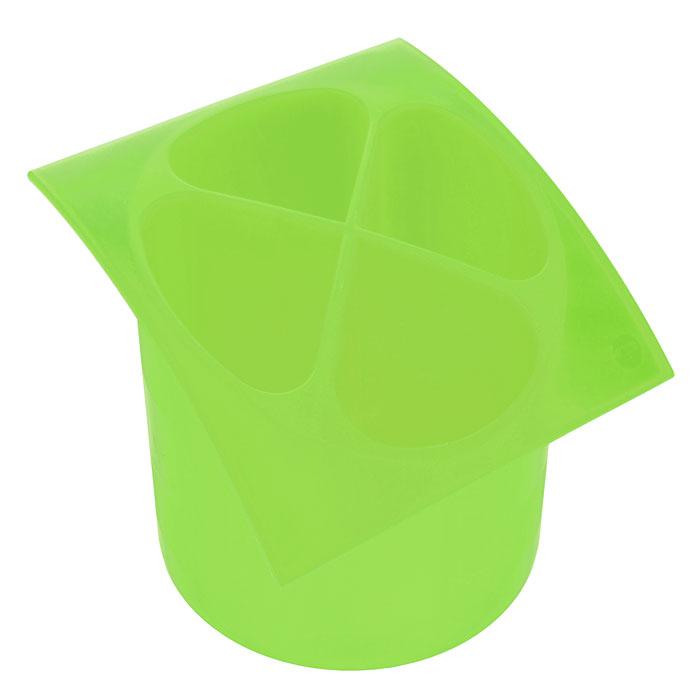 Подставка для столовых приборов Cosmoplast, цвет: зеленый, диаметр 14 см2140Подставка для столовых приборов Cosmoplast, выполненная из высококачественного пластика зеленого цвета, станет полезным приобретением для вашей кухни. Подставка имеет четыре отделения для разных видов столовых приборов. Дно отделений оснащено отверстиями. Подставка вставляется в емкость, предназначенную для стекания воды. Характеристики:Материал:пластик. Цвет:зеленый. Общий размер подставки:15,5 см х 15,5 см х 14 см. Диаметр емкости:14 см. Артикул: 2140.