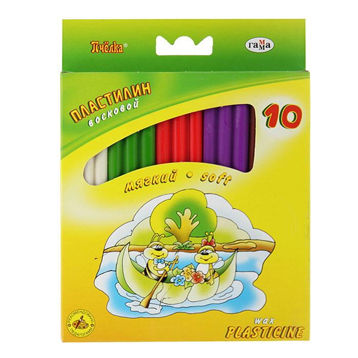 Пластилин восковой Пчелка, со стеком, 10 цветов280031НЦветной восковой пластилин Пчелка, предназначенный для лепки и моделирования, поможет ребенку развить творческие способности, воображение и мелкую моторику рук. Пластилин обладает отличными пластичными свойствами, быстро размягчается, хорошо держит форму и не липнет к рукам. Легко отмывается с рук и отстирывается от одежды. Пластилин нетоксичен, безопасен для здоровья. В наборе пластилин десяти насыщенных цветов: белого, светло-зеленого, кораллового, фиолетового, коричневого, черного, синего, лилового, темно-зеленого и желтого и стек. Характеристики:Размер брусочка пластилина: 7 см х 2,5 см х 1 см. Длина стека: 12,5 см. Размер упаковки: 13 см х 17,5 см х 1 см.