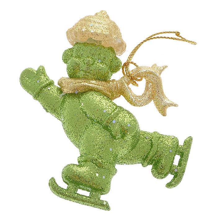 Новогоднее подвесное украшение Снеговик, цвет: зеленый. Ф21-1630Ф21-1630Новогоднее украшение Снеговик выполнено из пластика в виде снеговика на коньках, украшенного зелеными и золотистыми блестками. Елочная игрушка - символ Нового года. Она несет в себе волшебство и красоту праздника. Создайте в своем доме атмосферу веселья и радости, украшая всей семьей новогоднюю елку нарядными игрушками, которые будут из года в год накапливать теплоту воспоминаний. Характеристики:Материал:пластик. Цвет:зеленый. Размер украшения:8 см х 7 см х 3 см. Артикул:Ф21-1630.